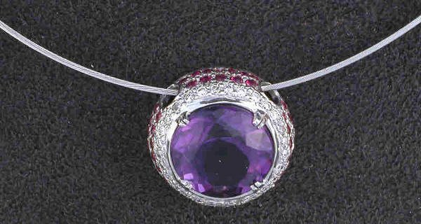 14: 14K gold, amethyst, diamond and ruby necklace