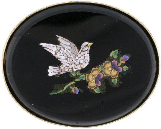 19: 18K gold micro mosaic pin of a dove and flower