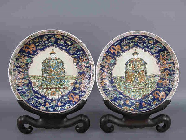 21: Pr. of monumental Chinese porcelain chargers
