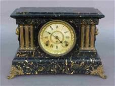 24 Seth Thomas Adamantine mantle clock w marble