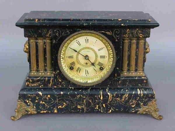 "24: Seth Thomas ""Adamantine"" mantle clock w/ marble-"