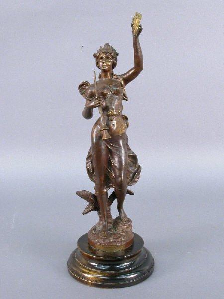 "34: ""Pensee"" par Guillemin bronzed metal statue"