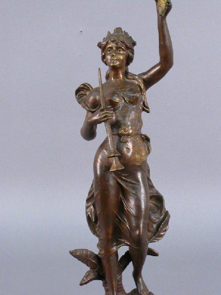 "34: ""Pensee"" par Guillemin bronzed metal statue - 2"