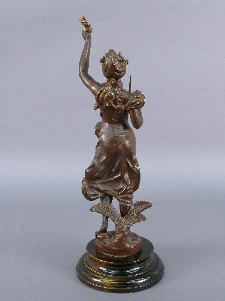 "34: ""Pensee"" par Guillemin bronzed metal statue - 3"