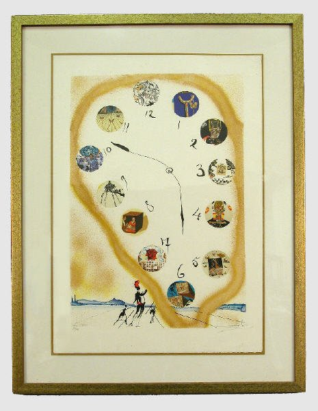 """77: Signed Dali (LR) lithograph titled """"Time"""