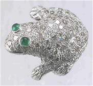 96 14K white gold and diamond frog brooch with