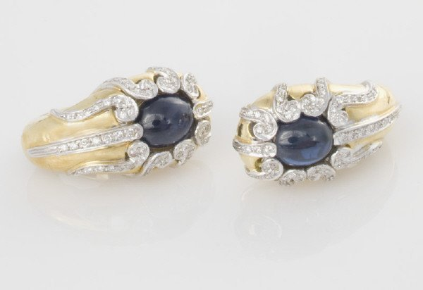 3: Pair of 18K gold, diamond, and sapphire earrings