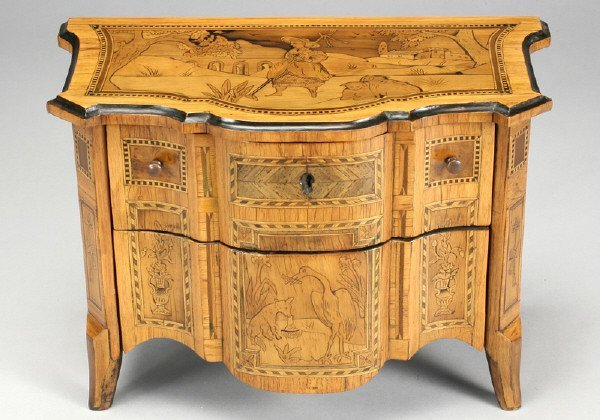 4: A Dutch miniature fruitwood marquetry commode