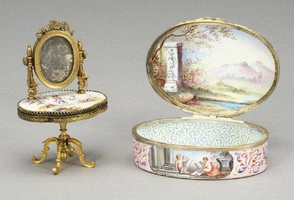 5: (2) French enamel miniature objects of vertu