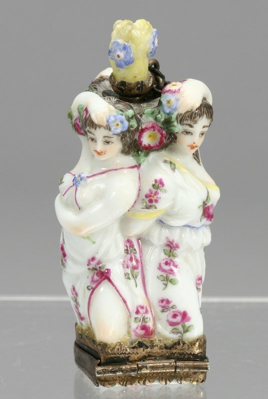 "7: Chelsea ""Three Graces"" porcelain scent bottle"