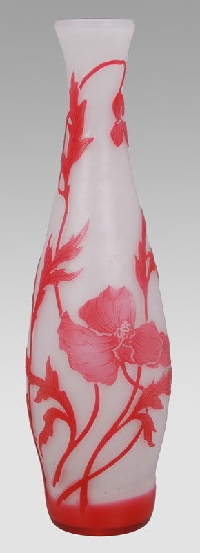 8: A French De Vez cameo glass vase overlaid in