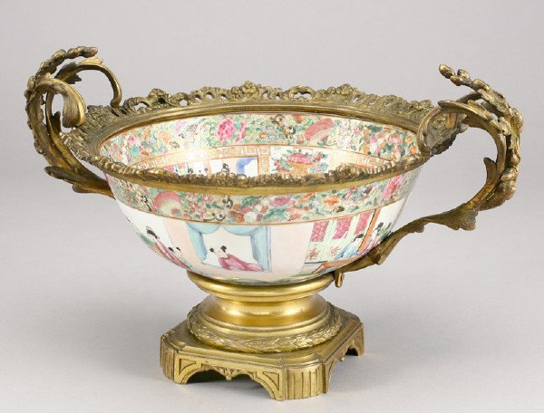 11: An ormolu-mounted Chinese Canton famille rose bowl
