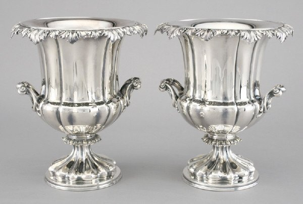 14: Pr. English silver plate urn-form wine coolers.