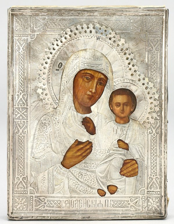 15: Russian icon with silver oclad depicting Tichvine