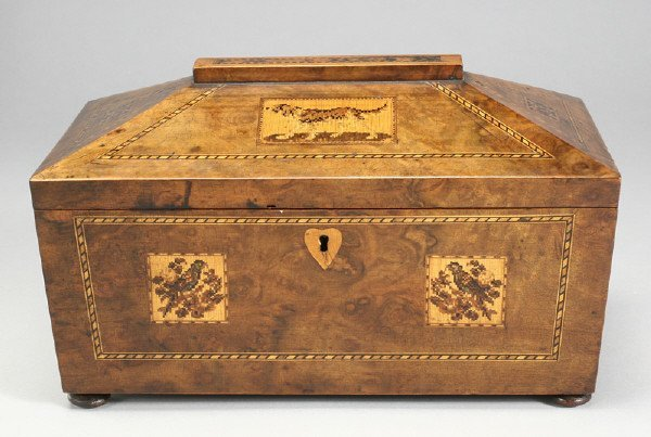 18: English Tunbridge-ware marquetry walnut tea caddy