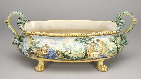 19: Italian Majolica centerpiece painted to depict