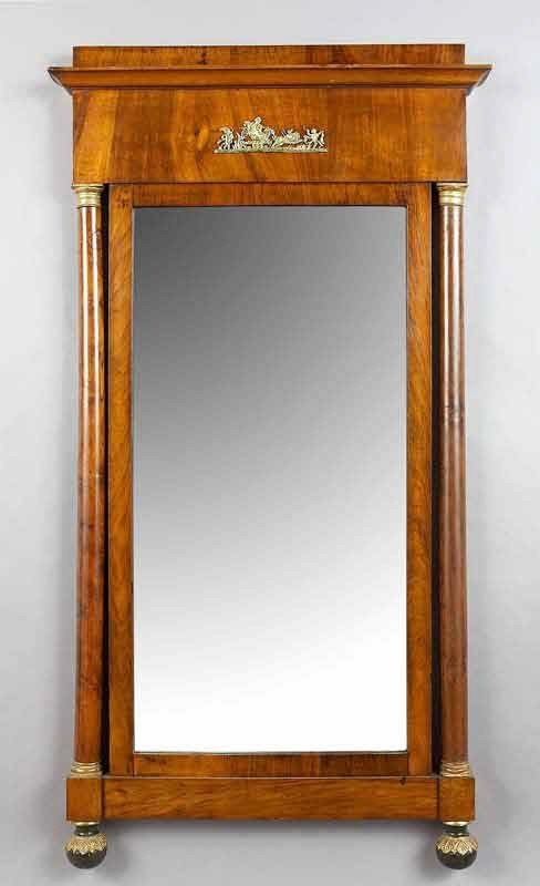 21: Empire ormolu mounted mahogany wall mirror