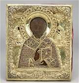 183 Russian icon of St Nicholas and fine silver oklad