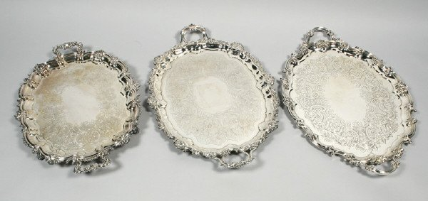 256: (3) English silver plate trays, (1) oblong