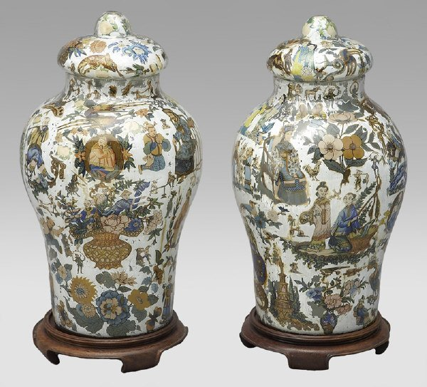 1: Pr. Chinoiserie decorated glass ginger jars with