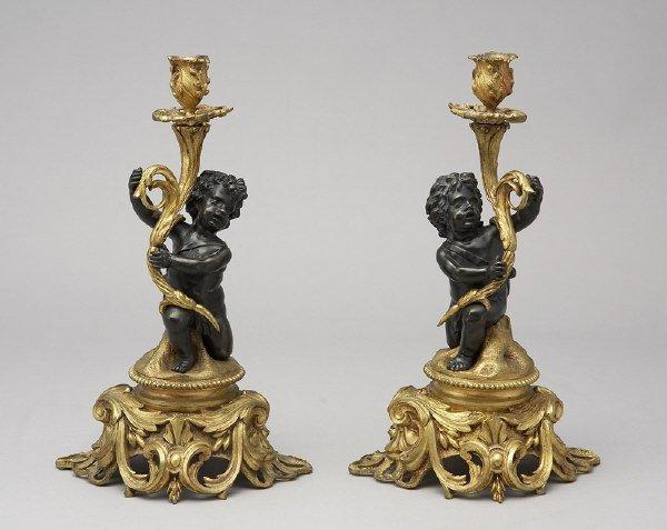 2: Pr. Louis XV style patinated bronze candlesticks