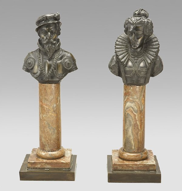 4: Pair bronze busts modeled as Queen Elizabeth I and