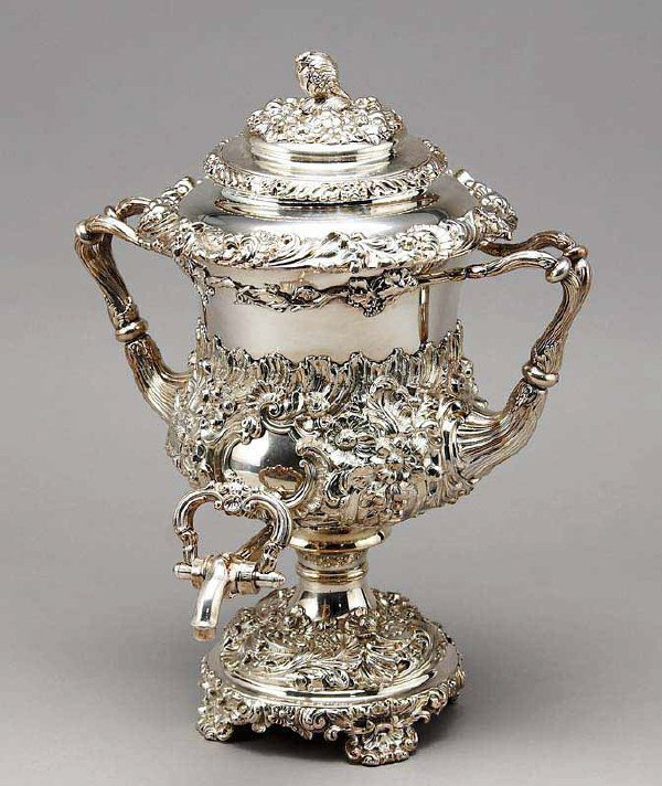 5: An Old Sheffield Plate silver hot water urn