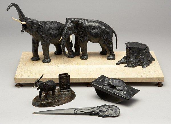 6: 4 Pcs. bronze elephant and marble desk set