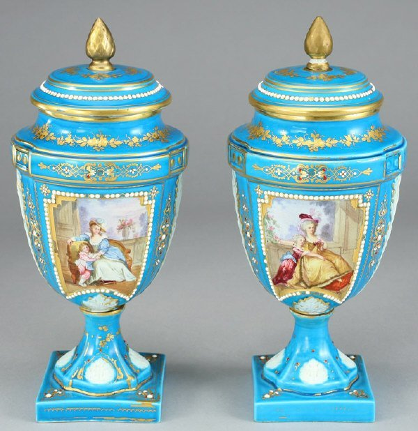 7: Pair Sevres style jeweled covered porcelain urns