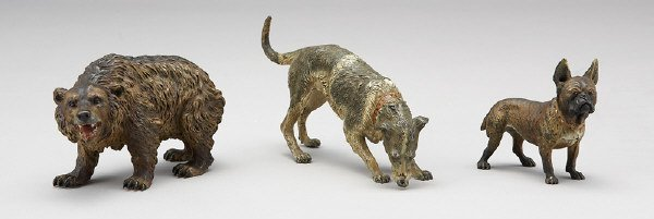 8: (3) Austrian cold painted bronze animal models