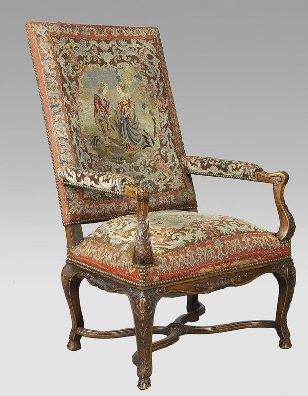 10: Louis XV style carved walnut armchair with