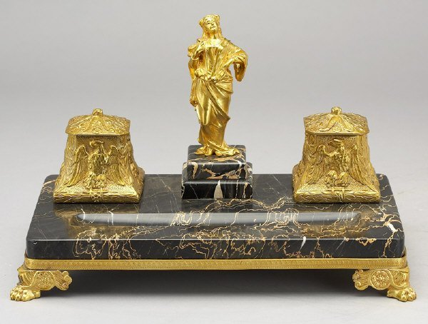 12: Dore bronze and marble desk set