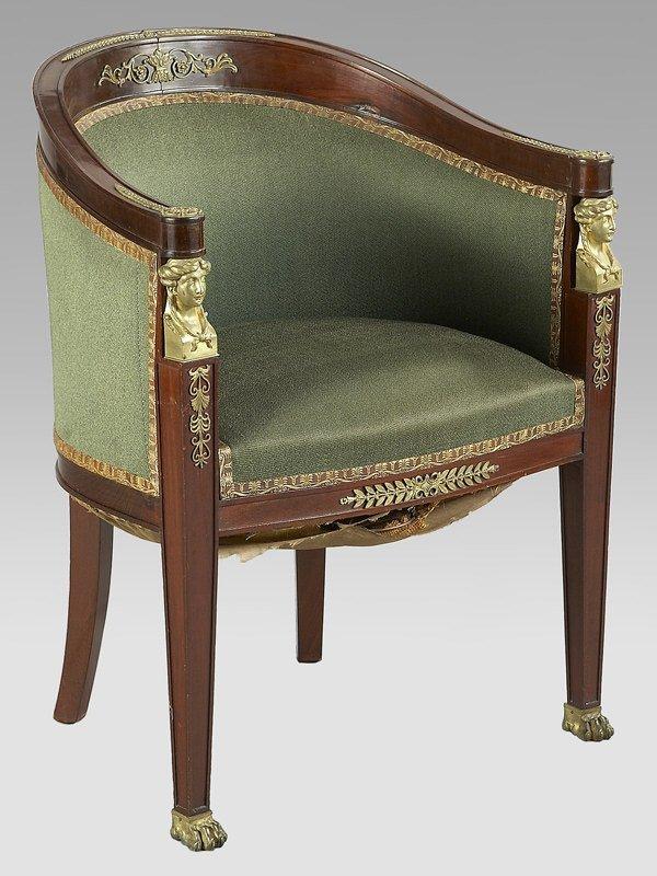 15: French Empire ormolu mounted mahogany tub chair