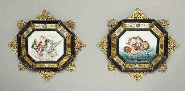16: Pr. Italian Capodimonte wall relief porcelain