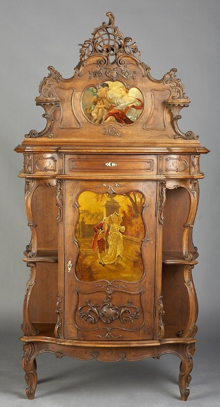 17: Louis XV Vernis Martin style carved walnut vitrine