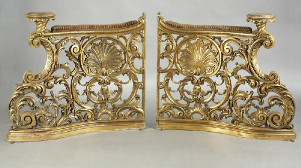 22: Pair of Italian gilt carved rococo balustrades