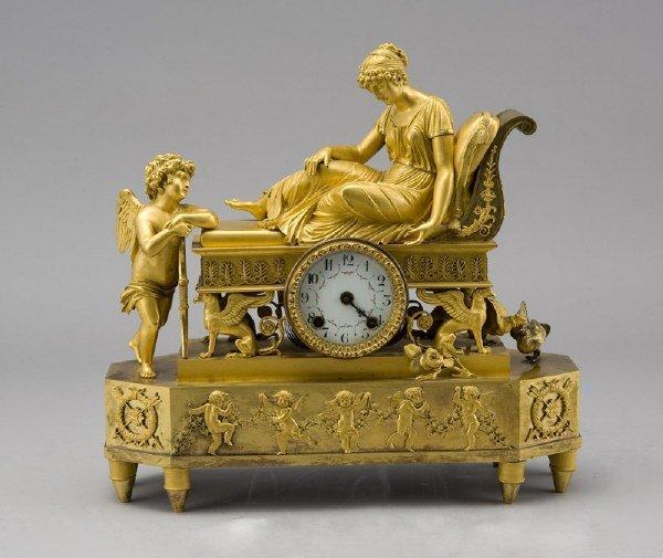 27: French Empire gilt bronze mantel clock