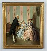 118: Otto Erdmann oil painting on canvas, a courting