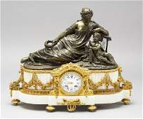 164: French bronze Raingo Freres figural mantle clock