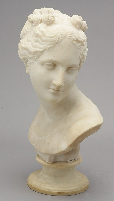 337: Italian alabaster bust of a classic lady