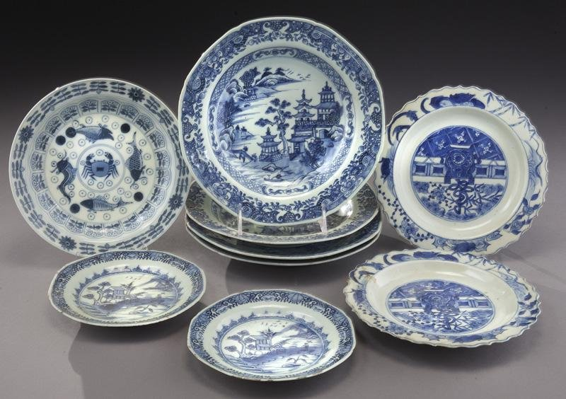 (9) Chinese Qing blue & white porcelain plates.