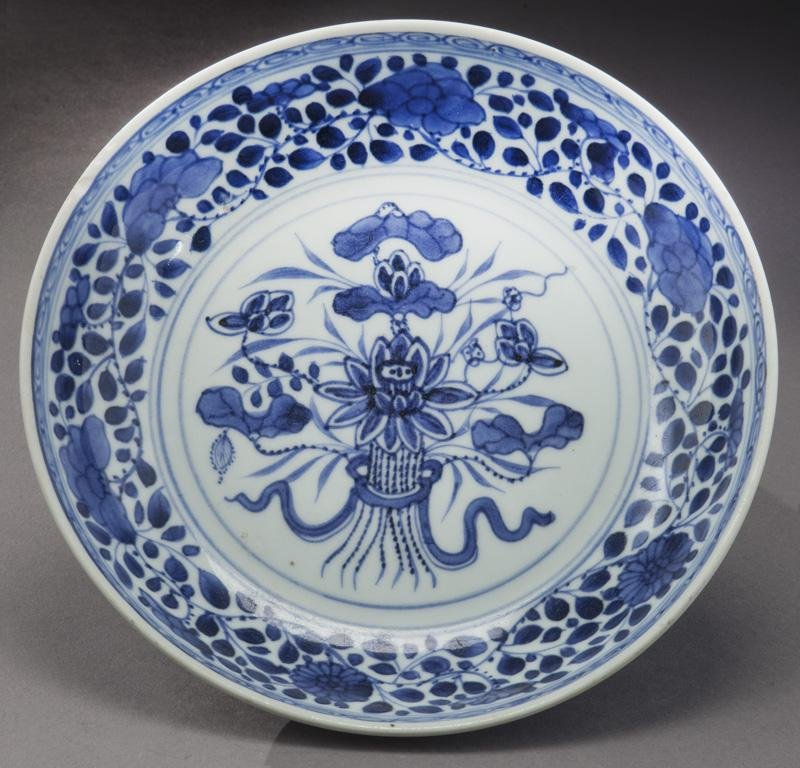 Chinese Qing blue & white porcelain plate,
