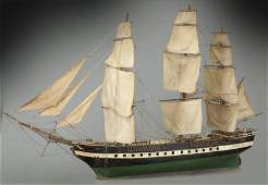 Large antique model of a wooden sailing ship,