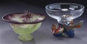 2 Daum pate de verre glass vessels