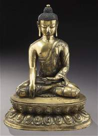 Important large Chinese Ming Tibetan gilt bronze