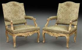 Pr. Large French gilt carved open armchairs,