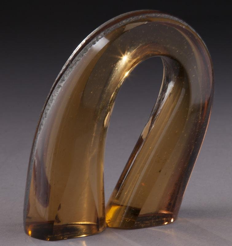 Harvey Littleton horseshoe glass vase,