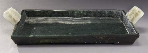 Chinese Qing carved spinach green jade tray