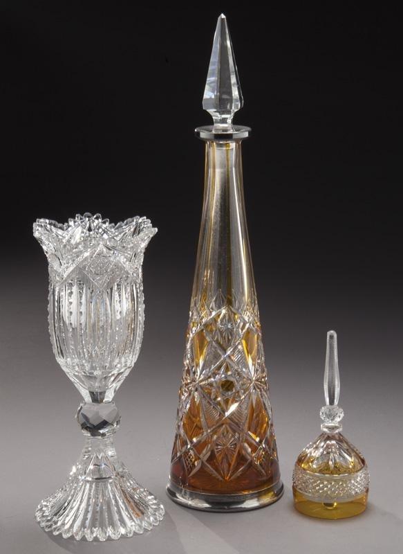 (3) Pcs. of antique cut glass,