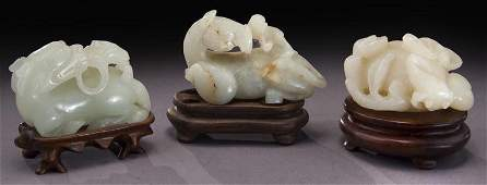 Chinese Qing carved jade toggles,
